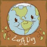 Planeta sonriente en el cartel retro del estilo para el Día de la Tierra, ejemplo del vector Fotografía de archivo libre de regalías