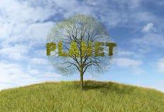 Planeta tekst na drzewie ilustracji