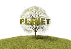 Planeta tekst na drzewie ilustracja wektor