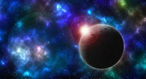 Planeta texturizado en el cielo coloreado