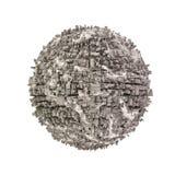 Planeta urbanizado extracto en un fondo blanco Foto de archivo