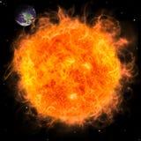 Planeta verdadero de la tierra en espacio. Sol del fuego rojo. Imagenes de archivo