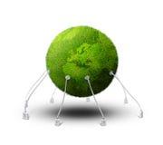 Planeta verde aterrado ilustração stock