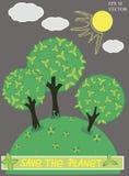 Planeta verde com vetor da árvore Fotografia de Stock Royalty Free