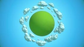 Planeta verde dos desenhos animados com nuvens do voo ilustração stock
