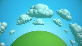Planeta verde dos desenhos animados com nuvens do voo ilustração do vetor