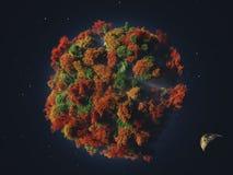 Planeta verde en espacio exterior stock de ilustración