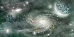 Planeta w przestrzeni jarzeniowe gwiazdy Fotografia Stock