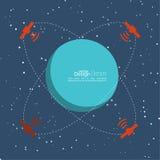 Planeta w przestrzeni z satelitami transmituje radio Obraz Royalty Free