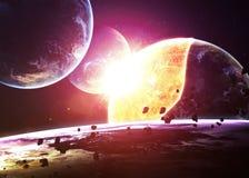 Planeta wybuch końcówka czas - apokalipsa - ilustracja wektor