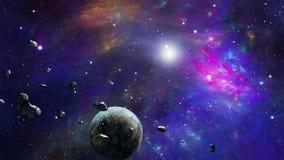 Planeta y asteroides que giran alrededor de luz libre illustration