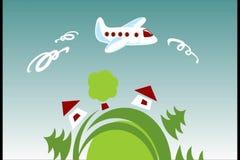 Planeta y avión almacen de video