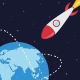Planeta y cohete Imagen de archivo libre de regalías