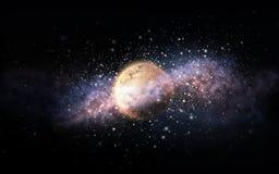Planeta y estrellas en espacio Foto de archivo libre de regalías