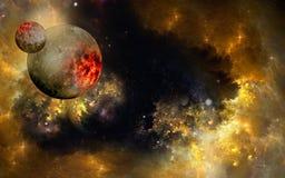 Planeta y luna Imágenes de archivo libres de regalías