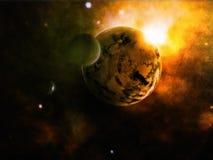 Planeta y luna Imagen de archivo libre de regalías