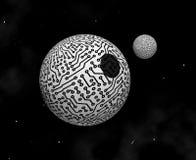 Planeta y satélite electrónicos - ilustración Imagen de archivo