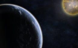 Planeta y una estrella Imágenes de archivo libres de regalías