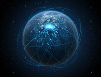 Planeta Z Iluminującymi sieci I światła śladami Fotografia Royalty Free