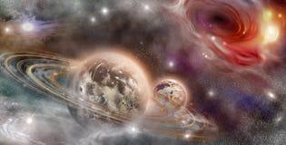 Planeta z pierścionkami i satelitą Zdjęcia Stock