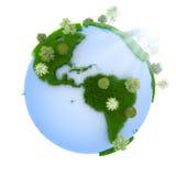 planeta zielony wschód słońca royalty ilustracja