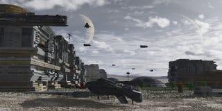 Planetarische menschliche Kolonie Stockbilder