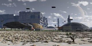 Planetarische menschliche Kolonie Stockfotos