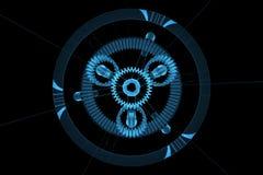 planetarisk genomskinlig röntgenstråle för blått kugghjul 3d Royaltyfria Bilder