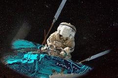 Planetariskt ADB-system för astronautförbättringsvärld royaltyfri illustrationer