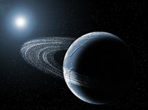 Planetarium. Planet with ring in the universe with the sun