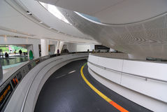 Planetarium Entrance Ramp. The planetarium inside the Rose Center for Earth and Space Science at the American Museum of Natural History in New York City stock photos