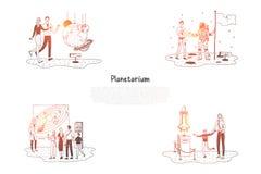 Planetarium - folk i planetariet som ser utställningar och uppsättningen för presentationsvektorbegrepp vektor illustrationer
