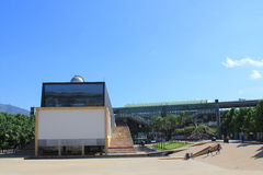 Planetarium sector. Medellín Colombia. Park with building and blue sky Royalty Free Stock Photo