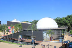 Planetarium sector. Medellín Colombia. Park with buildings and blue sky Stock Image