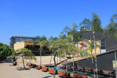 Planetarium sector. Medellín Colombia. Park with buildings and blue sky Royalty Free Stock Image