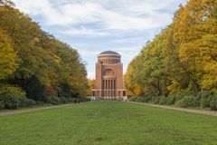 Planetarium tower at Stadtpark, Hamburg. Hamburg, Germany - Novemver 8, 2018: The Planetarium, a former water reservoir tower, at Stadtpark public park in autumn royalty free stock photos