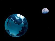 Planetary. Photo of a glass globe added to a photo of the moon with subtle stars added to the background Stock Photos
