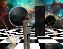 Planetary Armageddon. Massive meteorite - asteroid shower destroy planets. Black mystic monolith and thinking businessman on chessboard. Some elements image stock illustration