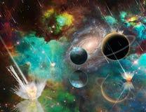 Planetary Armageddon. Massive meteorite - asteroid shower destroy planets. 3D rendering vector illustration