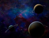 Planetary Armageddon. Massive meteorite - asteroid shower destroy planets. Some elements image credit NASA vector illustration