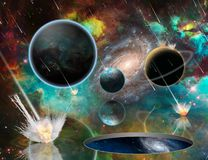 Planetary Armageddon and Wormhole. Planetary Armageddon. Wormhole. Massive meteorite - asteroid shower destroy planets. Some elements image credit NASA royalty free illustration