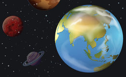 Planetary bodies in the sky. Illustration of the planetary bodies in the sky Royalty Free Stock Image
