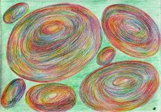 Planetary dance. The picture is made by multi-color pencils on paper. The image size is about A4 Stock Image