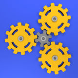 Planetary gear yellow plastic, teamwork concept and business ideas marketing plan strategy symbol Stock Photos