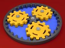 Planetary gear yellow, teamwork concept business ideas marketing plan strategy Stock Photo