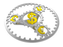 Planetary gearing. Gears with dollar, pound, yen and euro signs. 3d render Royalty Free Stock Photos