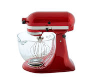 Planetary mixer. Kitchen appliances - red planetary mixer with a transparent bowl, isolated on a white background royalty free stock images