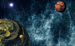 Extrasolar Planetary System. Imaginary Planetary System in the deep universe Stock Image