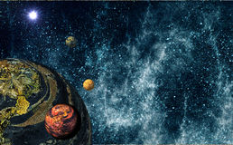 Extrasolar Planetary System. Imaginary Planetary System in the deep universe Stock Photo