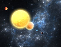 Planetary system with a red dwarf star Stock Photos